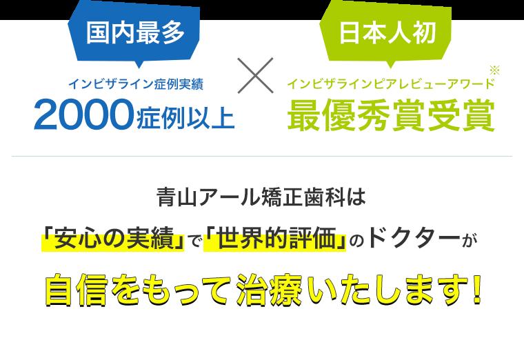 国内最多インビザライン症例実績 2000症例以上 日本人初インビザラインピアレビューアワード最優秀賞受賞